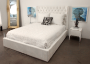 french film star white leather bed